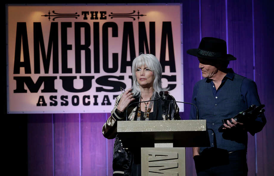Emmylou Harris and Rodney Crowell accept the award for duo/group of the year during the Americana Honors and Awards show on Wednesday, Sept. 18, 2013, in Nashville, Tenn. (AP Photo/Mark Humphrey) / AP