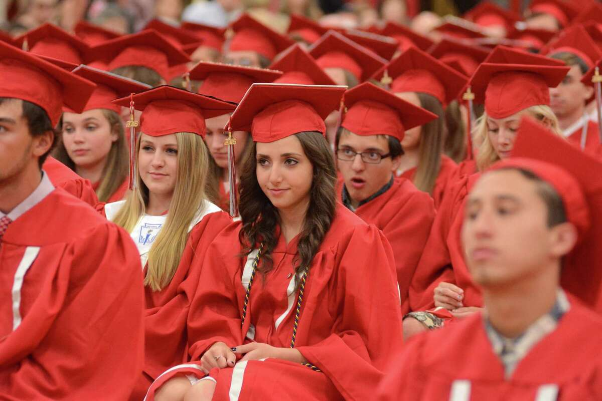 Pomperaug High School held their graduation ceremony on the campus in Southbury, Conn. on Wednesday, June 15, 2016.