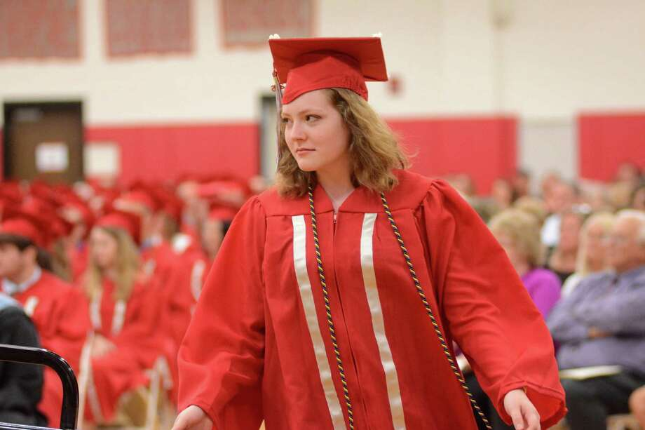 Pomperaug High School held their graduation ceremony on the campus in Southbury, Conn. on Wednesday, June 15, 2016. Photo: Lisa Weir, For Hearst Connecticut Media / The News-Times Freelance
