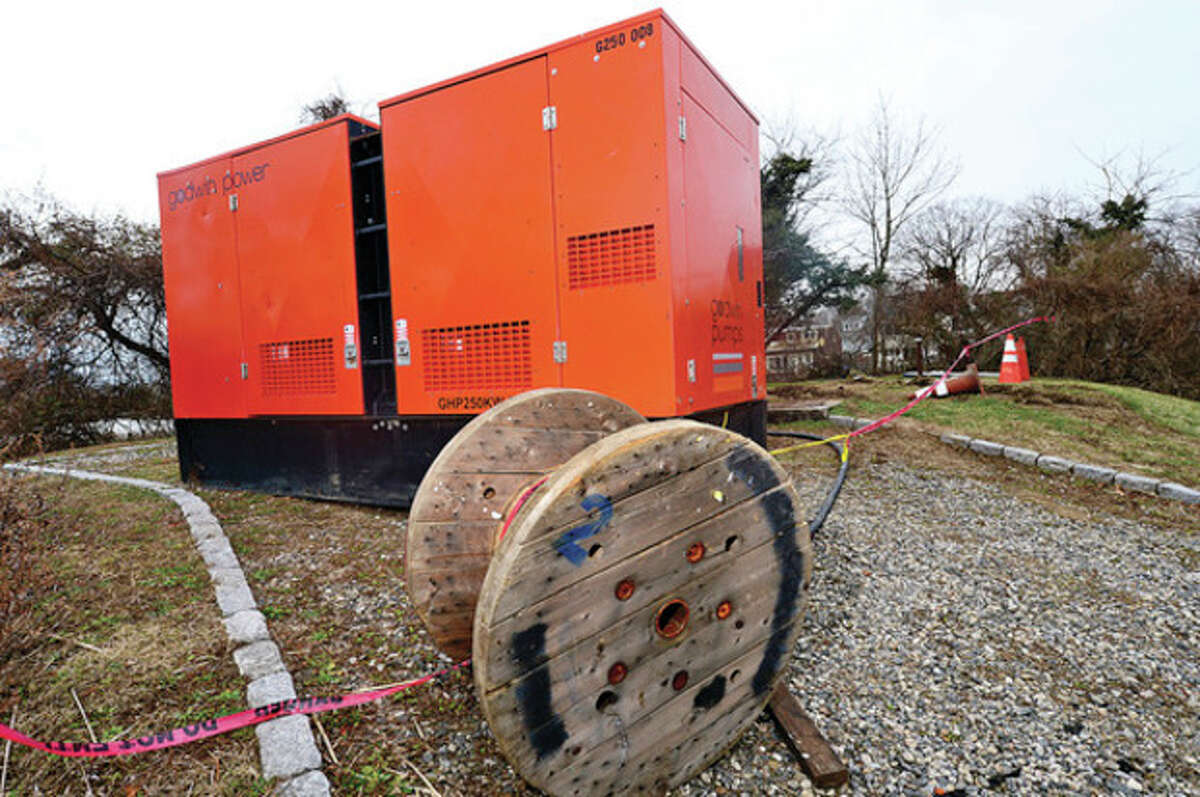 Hour photo / Erik Trautmann The city is moving forward with $1.4 million plan to upgrade Rowayton pumping station at Sammis Street and Farm Creek Road to safeguard against flooding. Hurricane Sandy knocked the station out for a week.