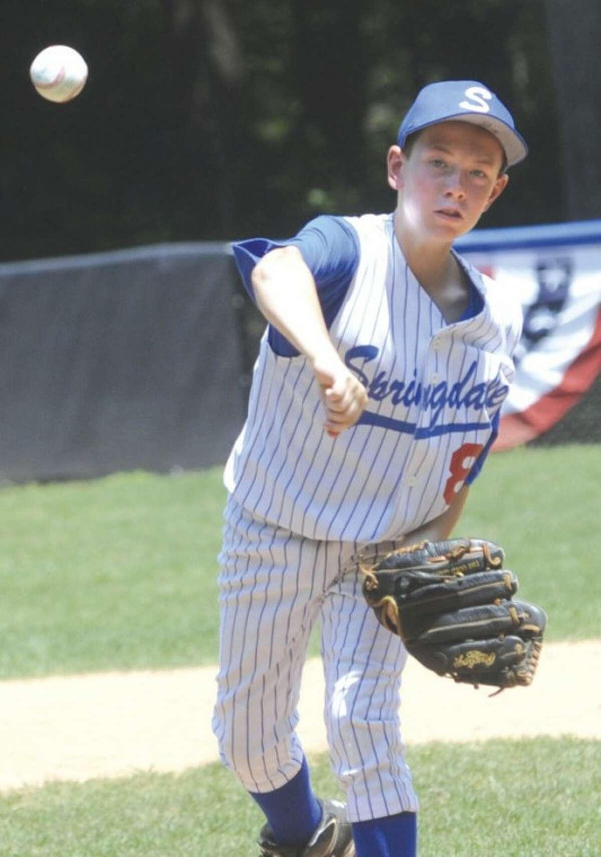 Starting pitcher for Springdale # 8 Bobby Cribbins vs. North Stamford. photo/Matthew Vinci