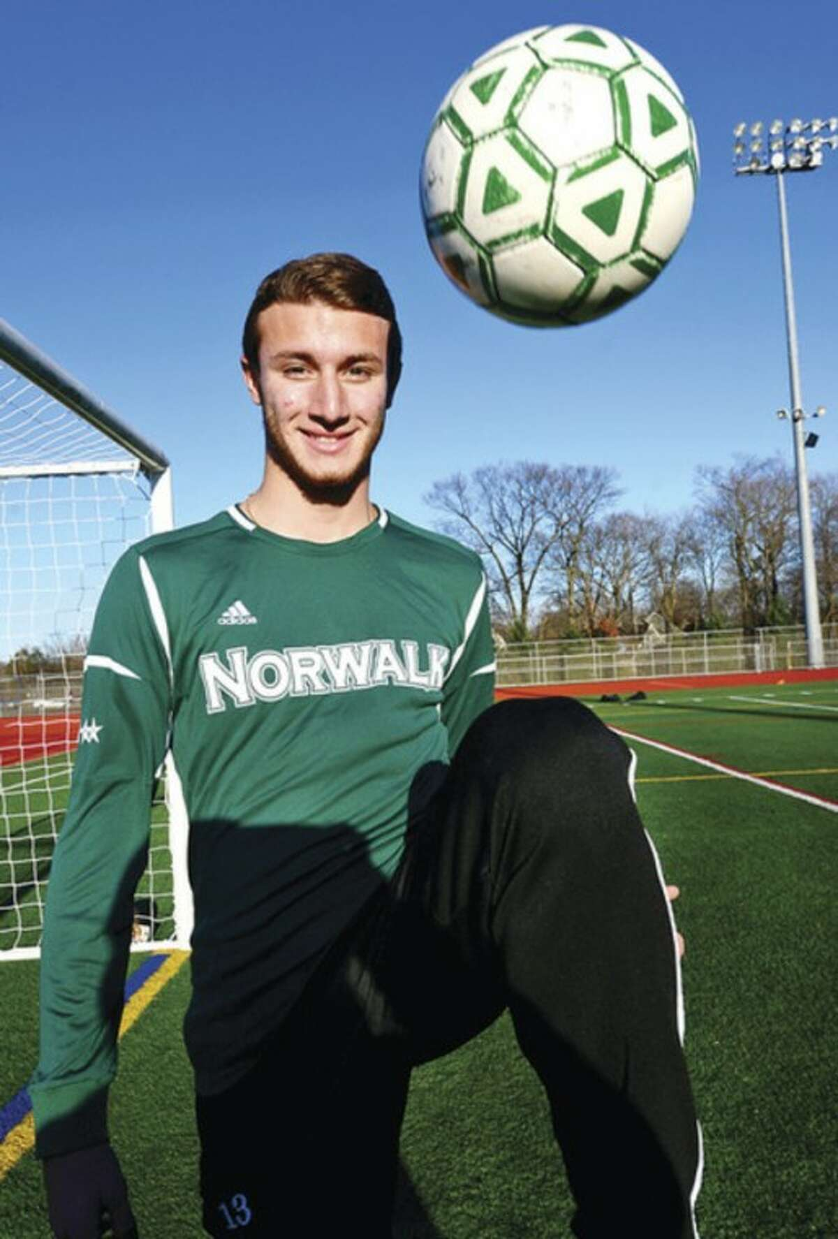 Hour photo/Erik Trautmann Norwalk senior captain Andrew Melitsanopoulos was the leader of the defensive unit that played a key role in the Bears' championship season. The backliner stepped to the front when it was time to pick an All-Area boys soccer MVP.