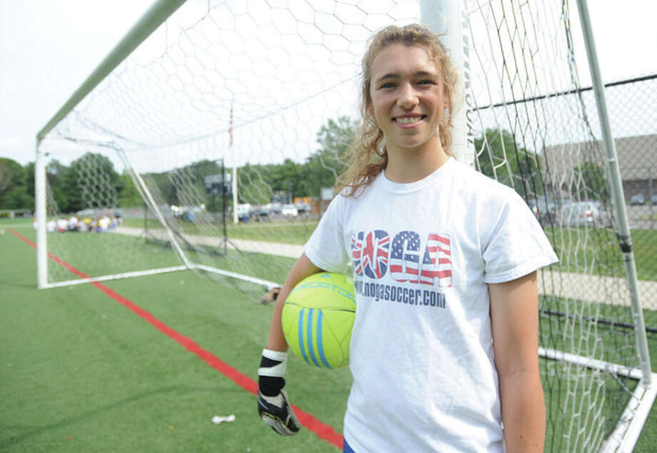Hour photo/John NashAfter three years of waiting in the wings, Wilton senior Liz Forster stepped in as the starting goalkeeper and helped lead the Warriors to another successful season. She is The Hour's All-Area girls soccer MVP.