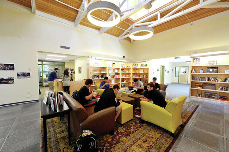 Hour photo / Erik TrautmannThe new library at Winston Prep which is set to hold its grand opening Saturday. / (C)2013, The Hour Newspapers, all rights reserved