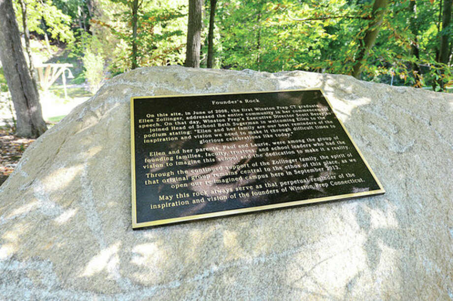Hour photo / Erik Trautmann The Founder's Rock at Winston Prep which is set to hold its grand opening Saturday. / (C)2013, The Hour Newspapers, all rights reserved