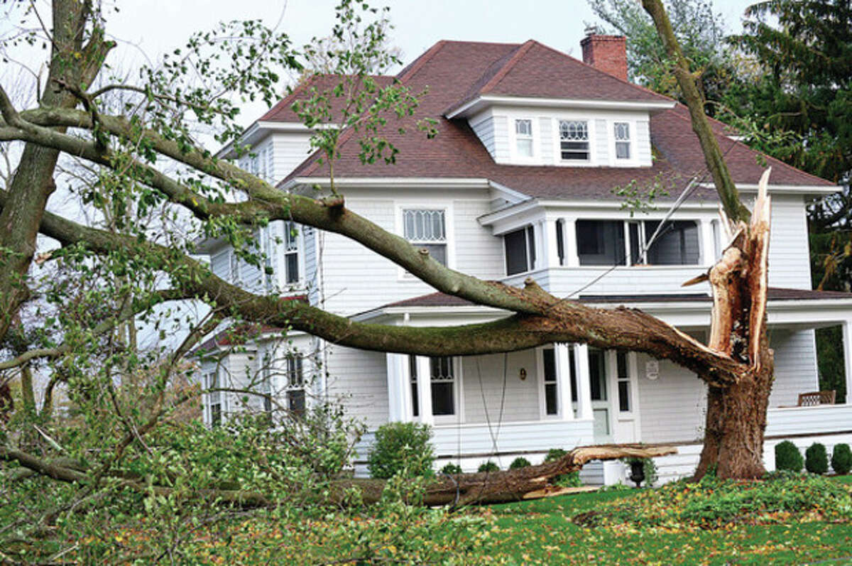 Neighborhoods near the waterfront in Norwalk were inundated with storm surge and high winds bringing down trees and blocking streets. Hour photo / Erik Trautmann