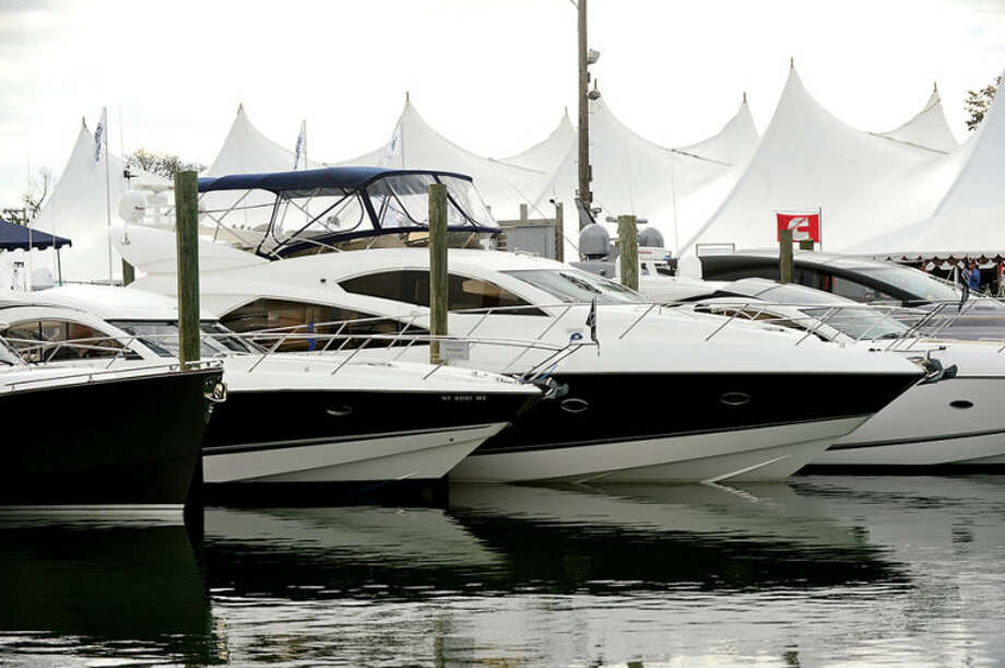 Hour photo / Erik Trautmann There were many luxury boats at the Norwalk Boat Show Saturday at Cove Marina.