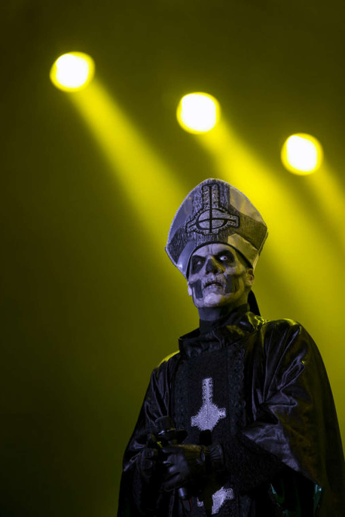 Mary Goore of the Swedish heavy metal band Ghost B.C., performs during the Rock in Rio music festival, in Rio de Janeiro, Thursday, Sept. 19, 2013. The week-long festival will feature a list of headliners including, Bon Jovi, Iron Maiden and Bruce Springsteen. (AP Photo/Silvia Izquierdo, File)