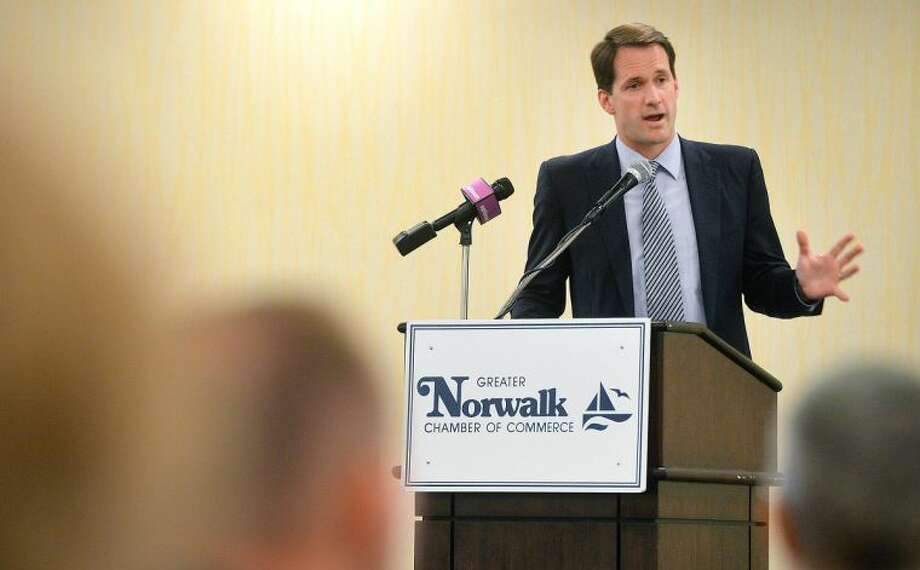 Hour Photo/Alex von Kleydorff Congressman Jim Himes speaks to the Greater Norwalk Chamber of Commerce on Monday during their regional round table event at Doubletree hotel