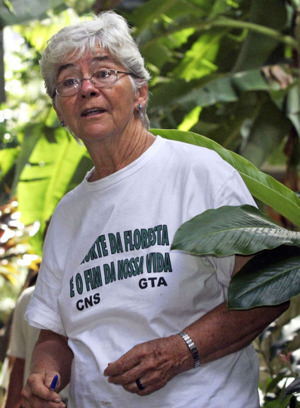 FILE - In this Feb. 12, 2004 file photo, U.S. nun Dorothy Stang, of Dayton, Ohio, prepares to enter Para's legislature in Belem, Brazil. The latest in a series of trials has begun for a landowner convicted of ordering the 2005 slaying of Stang. A verdict is expected by the end of the day Thursday, Sept. 19, 2013. (AP Photo/Carlos Silva, Imapress, file)