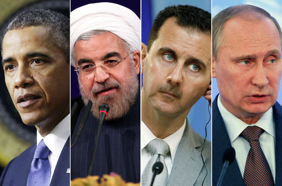 This combination made with file photos shows, from left, President Barack Obama, Iranian President Hasan Rouhani, Syrian President Bashar Assad, and Russian President Vladimir Putin. After years of estrangement, the United States and Russia are joined as partners in a bold plan to rid Syria of chemical weapons. More surprising yet, American and Iranian leaders _ after an exchange of courteous letters _ may meet in New York for the first time since the Islamic revolution swept Iran nearly 35 years ago. (AP File Photos) / AP
