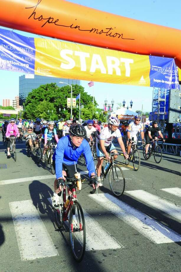 The bike race for the Hope In Motion, Walk Run & Ride to benefit the Bennett Cancer Center at Columbus Park in Stamford.