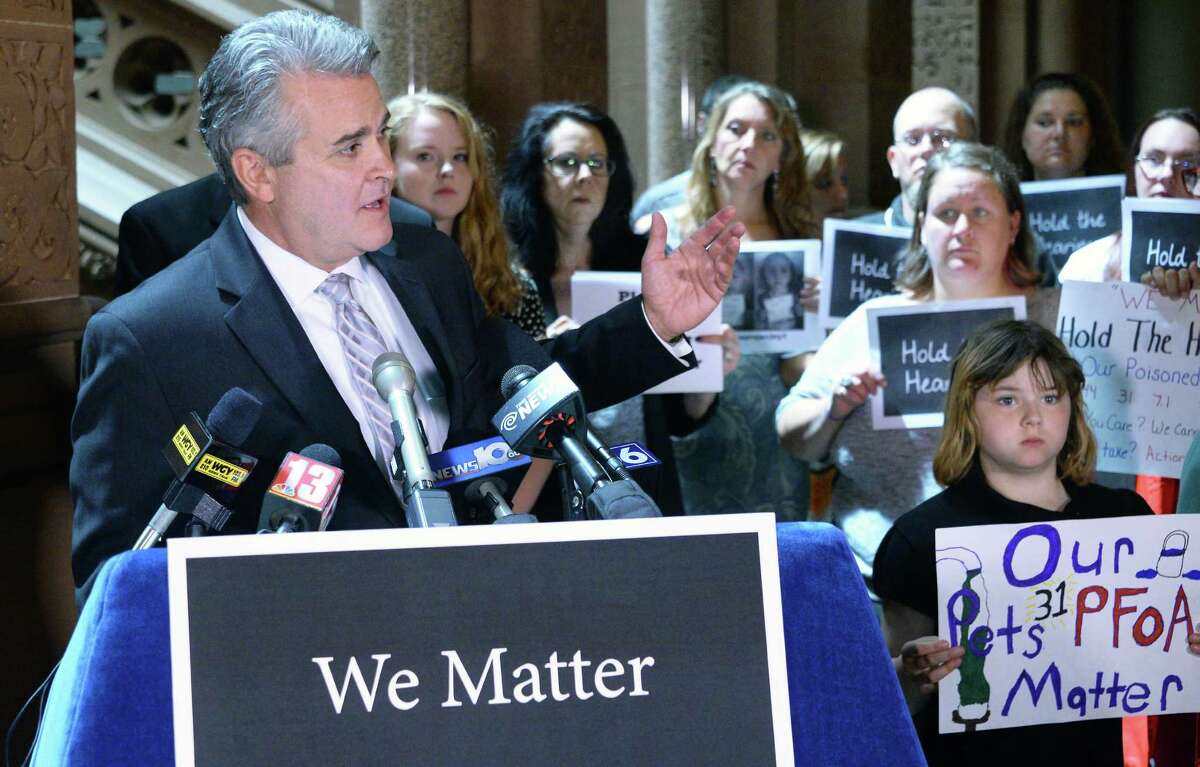Assemblyman Steve McLaughlin (R,C,I-Troy) joins Hoosick Falls residents to deliver their PFOA results to the state Senate in person and once again call on the Legislature to hold hearings at the Capitol Wednesday June 15, 2016 in Albany, NY. (John Carl D'Annibale / Times Union)