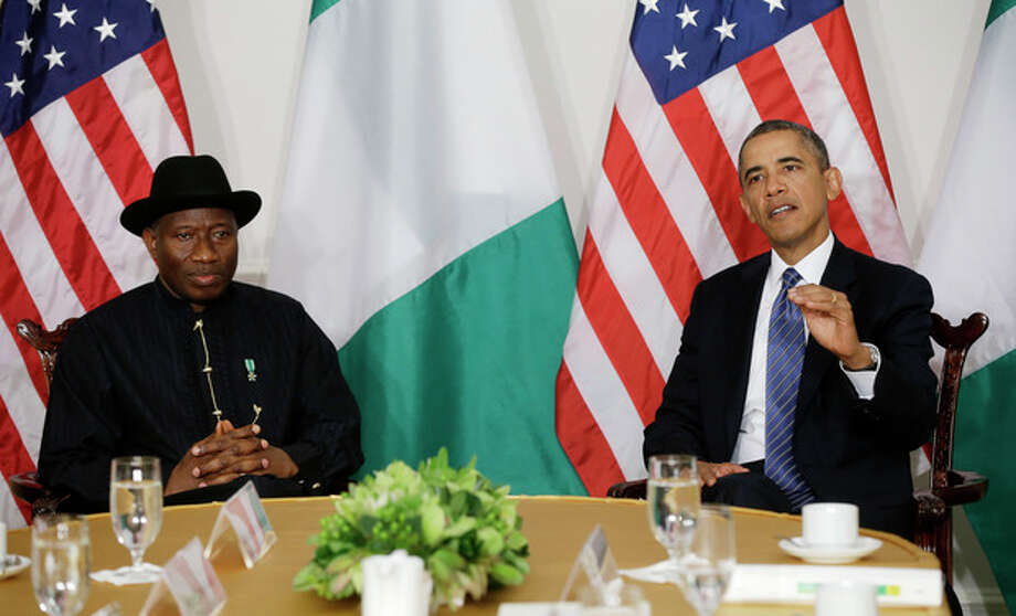 President Barack Obama meets with Nigerian President Goodluck Jonathan in New York, Monday, Sept. 23, 2013. Obama is in New York and is scheduled to address the United Nations General Assembly tomorrow. (AP Photo/Pablo Martinez Monsivais) / AP
