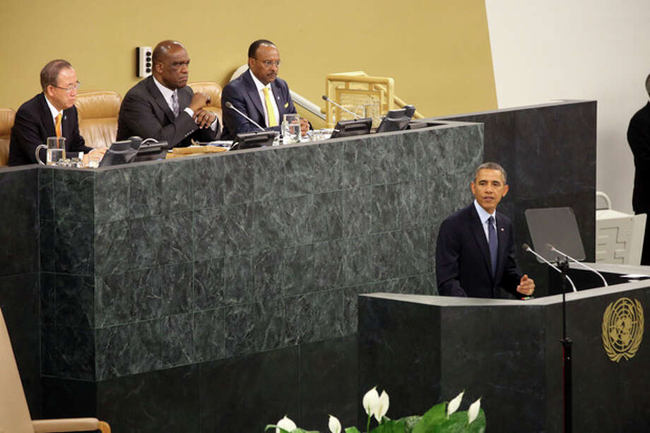 U.S. President Barack Obama speaks during the 68th session of the General Assembly at United Nations headquarters, Tuesday, Sept. 24, 2013. (AP Photo/Mary Altaffer) / AP