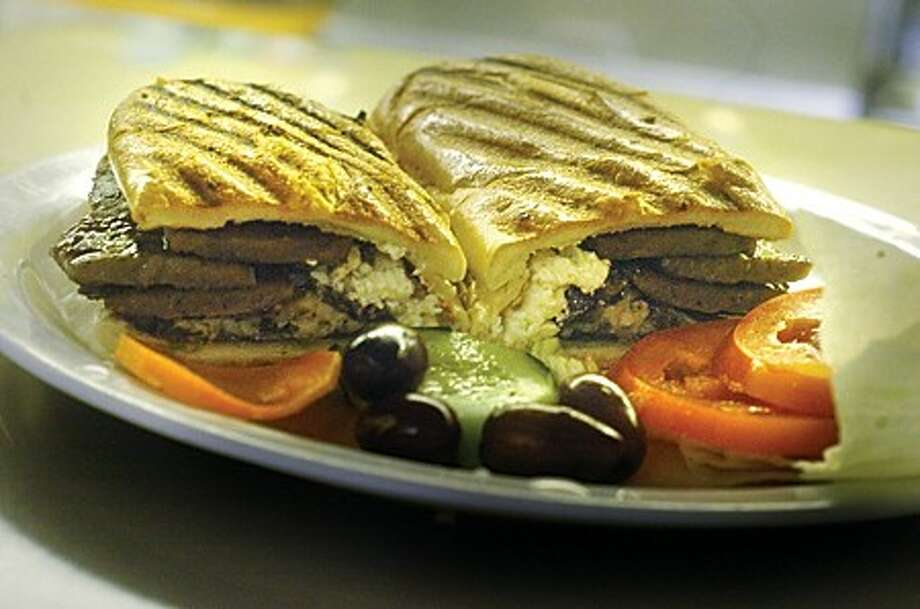 The Greek Panini at the Silver Star diner, grape leaves, fete cheese, olives on panini. The diner is celebrating it''s 30th year. hour photo/matthew ivnci