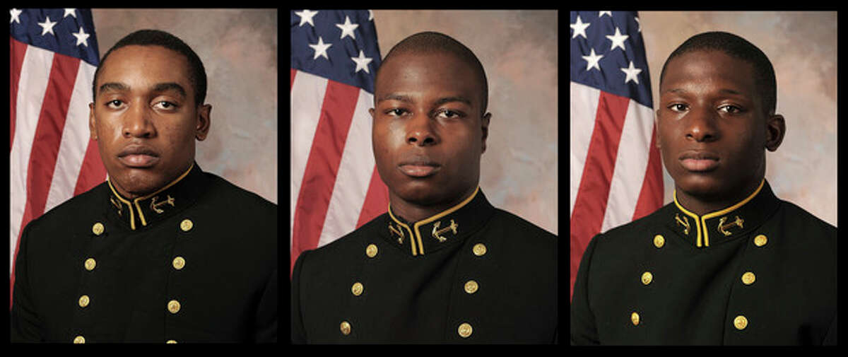 FILE - July, 24, 2013 file photos provided by the U.S. Navy Football team, show, from the left, Midshipman Tra'ves Bush, Midshipman Eric Graham and Midshipman Josh Tate. The case of the three former U.S. Naval Academy football players, accused of sexually assaulting a fellow midshipman at an off-campus toga party, has renewed calls for academy leaders to face tough accountability as the military tries to curb what has become a persistent and embarrassing problem. An attorney for the accuser in the case has sued, asking a federal judge to order that the academy?'s superintendent, Vice Adm. Michael Miller, recuse himself from deciding whether Bush, Tate and Graham will face a court-martial. Bush and Tate are charged with aggravated sexual assault, while Graham is charged with abusive sexual contact. (AP Photo/U.S. Navy Football team, File)