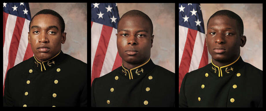 FILE - July, 24, 2013 file photos provided by the U.S. Navy Football team, show, from the left, Midshipman Tra'ves Bush, Midshipman Eric Graham and Midshipman Josh Tate. The case of the three former U.S. Naval Academy football players, accused of sexually assaulting a fellow midshipman at an off-campus toga party, has renewed calls for academy leaders to face tough accountability as the military tries to curb what has become a persistent and embarrassing problem. An attorney for the accuser in the case has sued, asking a federal judge to order that the academy's superintendent, Vice Adm. Michael Miller, recuse himself from deciding whether Bush, Tate and Graham will face a court-martial. Bush and Tate are charged with aggravated sexual assault, while Graham is charged with abusive sexual contact. (AP Photo/U.S. Navy Football team, File) / U.S. Navy Football team