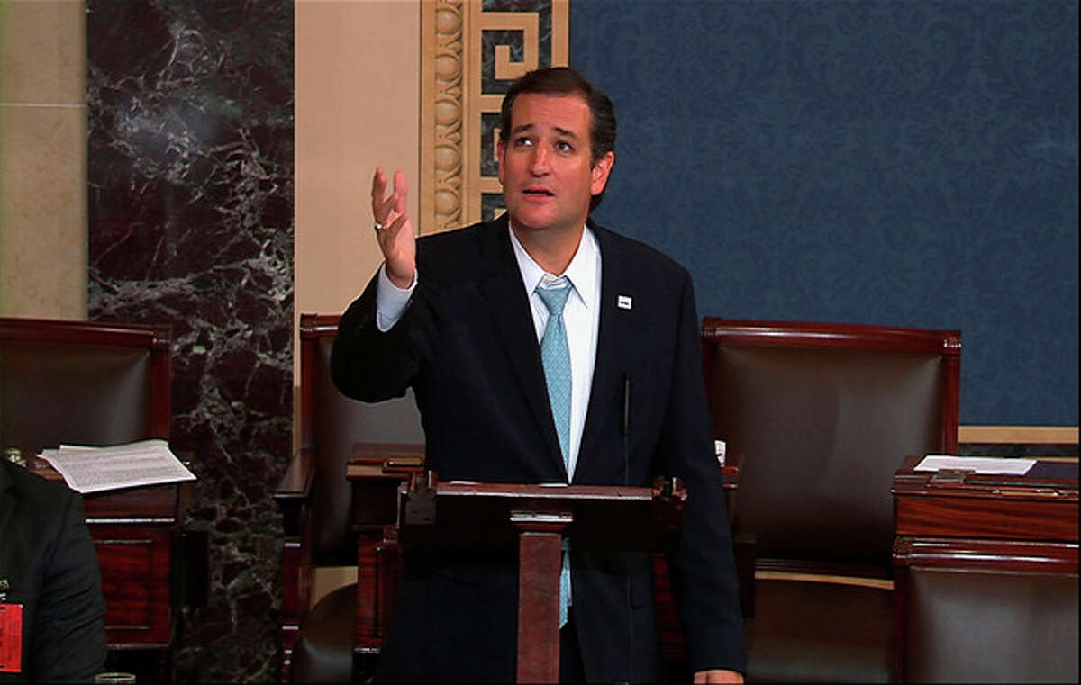 This video frame grab image from Senate TV show Sen. Ted Cruz, R-Texas speaking on the Senate floor on Capitol Hill in Washington, Wednesday, Sept. 25, 2013. The Democratic-controlled Senate is on a path toward defeating tea party attempts to dismantle President Barack Obama's health care law, despite an overnight talkathon on the chamber's floor led by Cruz. (AP Photo/Senate TV)