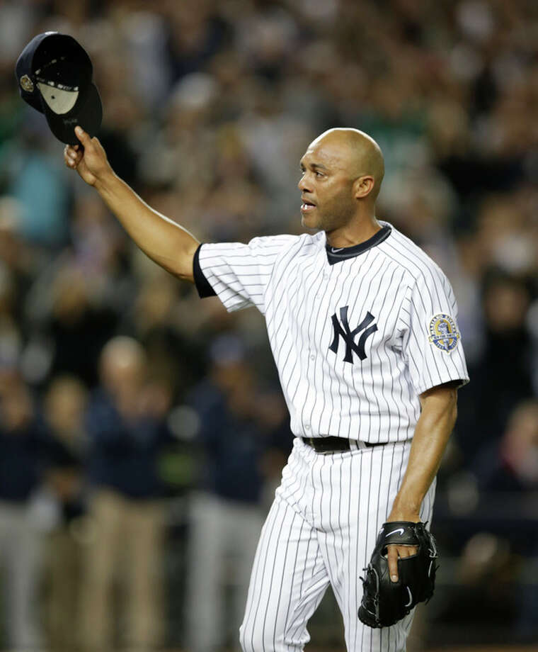 New York Yankees relief pitcher Mariano Rivera tips his cap in the ninth inning of his final appearance in a baseball game at Yankee Stadium, against the Tampa Bay Rays on Thursday, Sept. 26, 2013, in New York. The Yankees won 4-0. (AP Photo/Kathy Willens) / AP