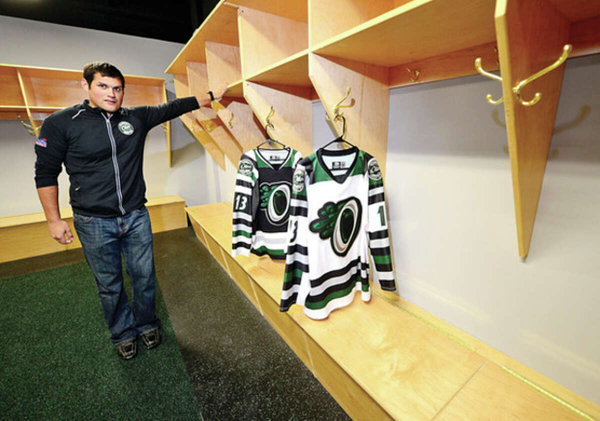 Hour photo / Erik Trautmann Ryan Hughes, president of SoNo Ice House and the Connecticut Oilers, stands in the nearly completed EHL team's locker room during a recent tour of the building.