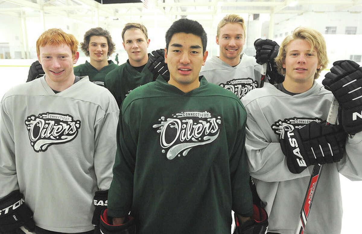 Hour photo/John Nash Six members of the Connecticut Oilers EHL team hail from the state of North Carolina. They are, from left, Alex Wilkinson (Raleigh), AJ Pekich (Huntersville), Michael Bunn (Wake Forest), Jared Chinn (Fort Bragg), Ryan Fitzgerald (Cary) and Todd Jackson (Apex).