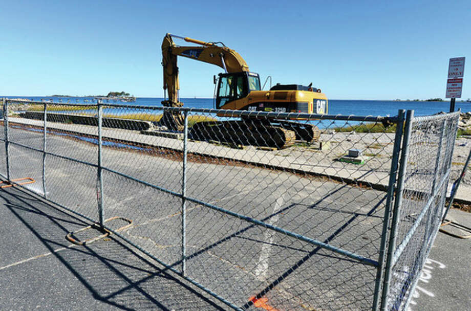 Hour photo / Erik TrautmannSigns of construction beginning at the Calf Pasture Beach seawall. / (C)2013, The Hour Newspapers, all rights reserved