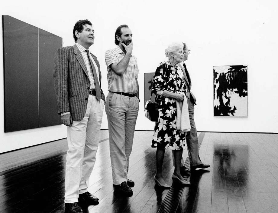 The Menil Collection's glossy dark floor, as seen in 1987, before the museum opened: Engineer Peter Rice, architect Renzo Piano, Dominique de Menil and her son Francois de Menil checked out a new gallery. Photo: Craig Hartley, HP Staff / Houston Post files