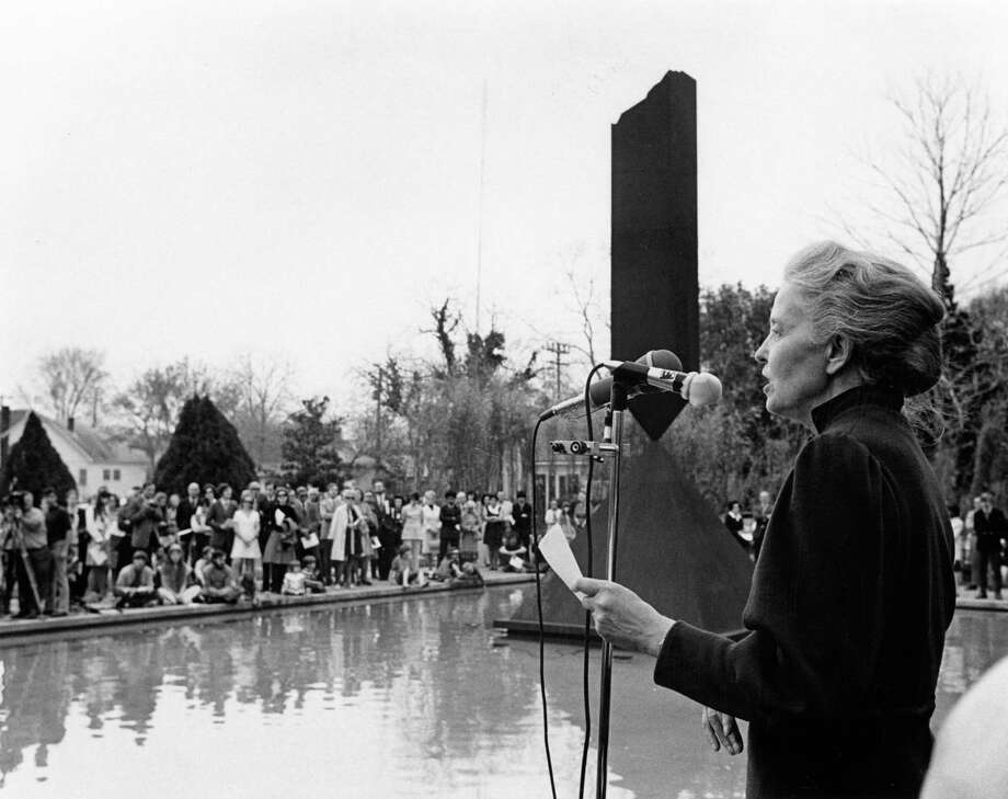 Dominique de Menil speaks at the dedication for Rothko Chapel in 1971. / handout / Houston Post files
