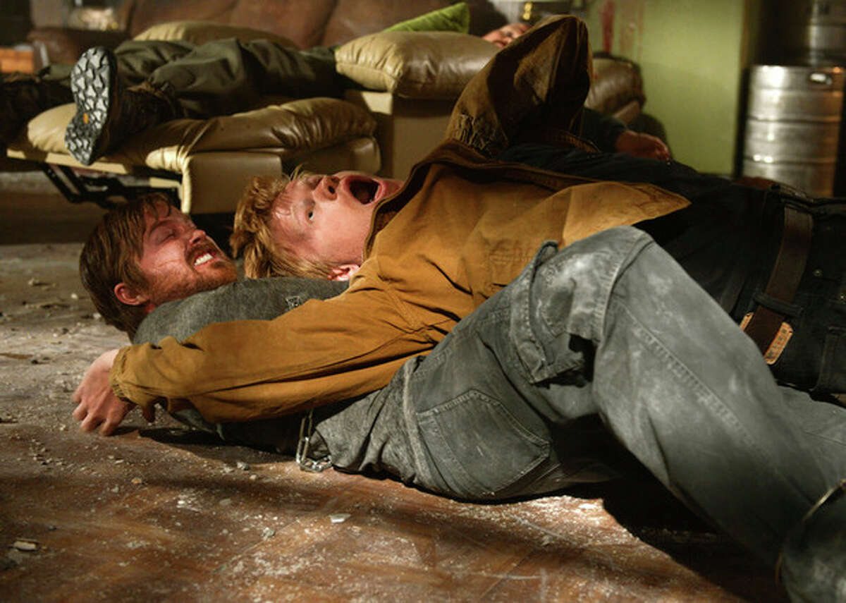 This image released by AMC shows Aaron Paul, as Jesse Pinkman, left, and Jesse Plemons, as Todd Alquist, in a scene from the finale of