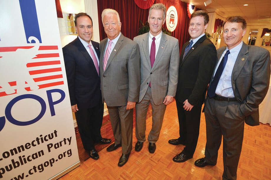 Hour Photo/Alex von KleydorffFirst Selectman of the Year Peter Tesei, Mayor of the Year Richard Moccia, former Mass. Sen. Scott Brown, state Sen. Dan Debicella and Connecticut Republican Party Chairman Jerry Labriola Jr. at the dinner.