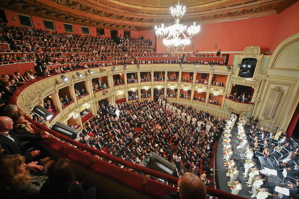 FILE - This Oct. 26, 2011, file photo shows a general view shows the Romanian National opera hall, one of the venues of the George Enescu Classical music festival. The 2013 edition of the classical music George Enescu International Festival that takes place in the Romanian capital between Sept. 1 and Sept 28, 2013, enjoyed unprecedented levels of audience with 80 percent of the tickets sold out in the first few days they went on sale . (AP Photo/Octav Ganea/Mediafax, File)