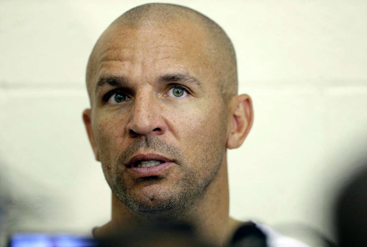 FILE - In this Wednesday, Oct. 2, 2013, file photo, Brooklyn Nets coach Jason Kidd speaks with the media at NBA basketball training camp at Duke University in Durham, N.C. Kidd has been suspended for two games for pleading guilty to driving while ability impaired. The NBA announced on Friday, Oct. 4, 2013, that Kidd will miss the first two games of the regular season starting on Oct. 29. (AP Photo/Gerry Broome, File)