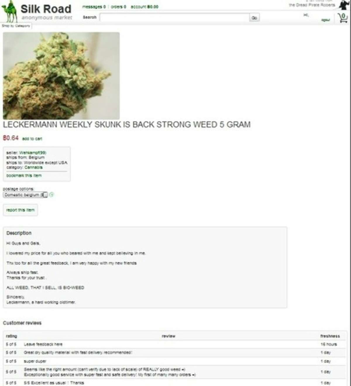 This frame grab from the Silk Road website shows thumbnails for a product allegedly available through the site. On Tuesday, Oct. 1, 2013, FBI agents arrested Ross William Ulbricht, who is accused of operating the secret website, which is believed to have brokered more than $1 billion in transactions for illegal drugs and services. (AP Photo/silkroaddrugs.org)
