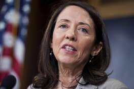 UNITED STATES - JUNE 11:  Sen. Maria Cantwell, D-Wash., speaks during a news conference in the Capitol on the Export-Import Bank bill, June 11, 2015. (Photo By Tom Williams/CQ Roll Call)