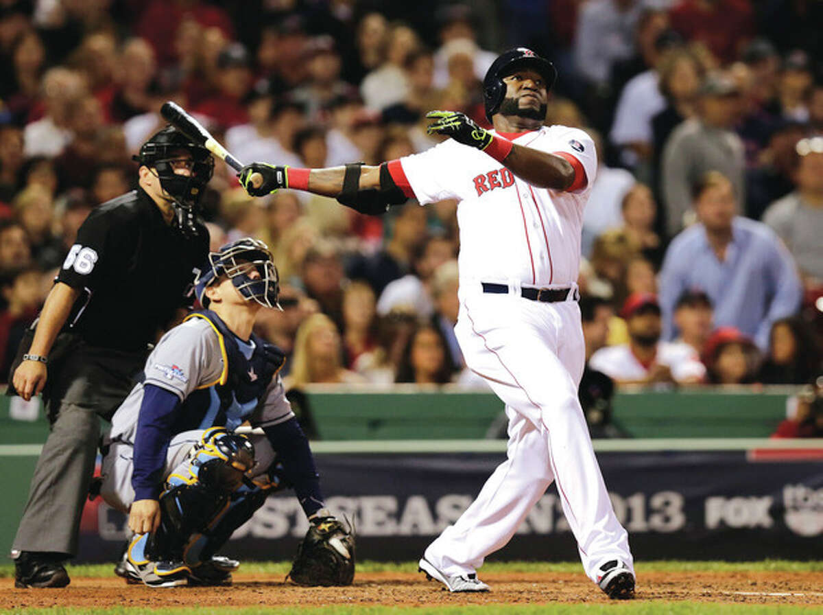 AP photo Boston Red Sox designated hitter David Ortiz watches his second home run of the game off Tampa Bay Rays starting pitcher David Price, in front of Rays catcher Jose Molina in the eighth inning in Game 2 of the ALDS. Boston won, and leads the best-of-five series, 2-0, going into Game 3 Monday in St. Petersburg, Fla.