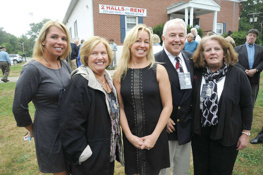 Hour photo/Matthew VinciFamily members of the American Legion Poat 12 Veteran of the Month, U.S. Army Tech 4 Michael J. Magee., from left, grand daughter, Margaret Goldstein, daughter, Eileen Iannazzi, grand daughter, Michelle Maggio, son, Michael Magee and daughter Mary Smith.