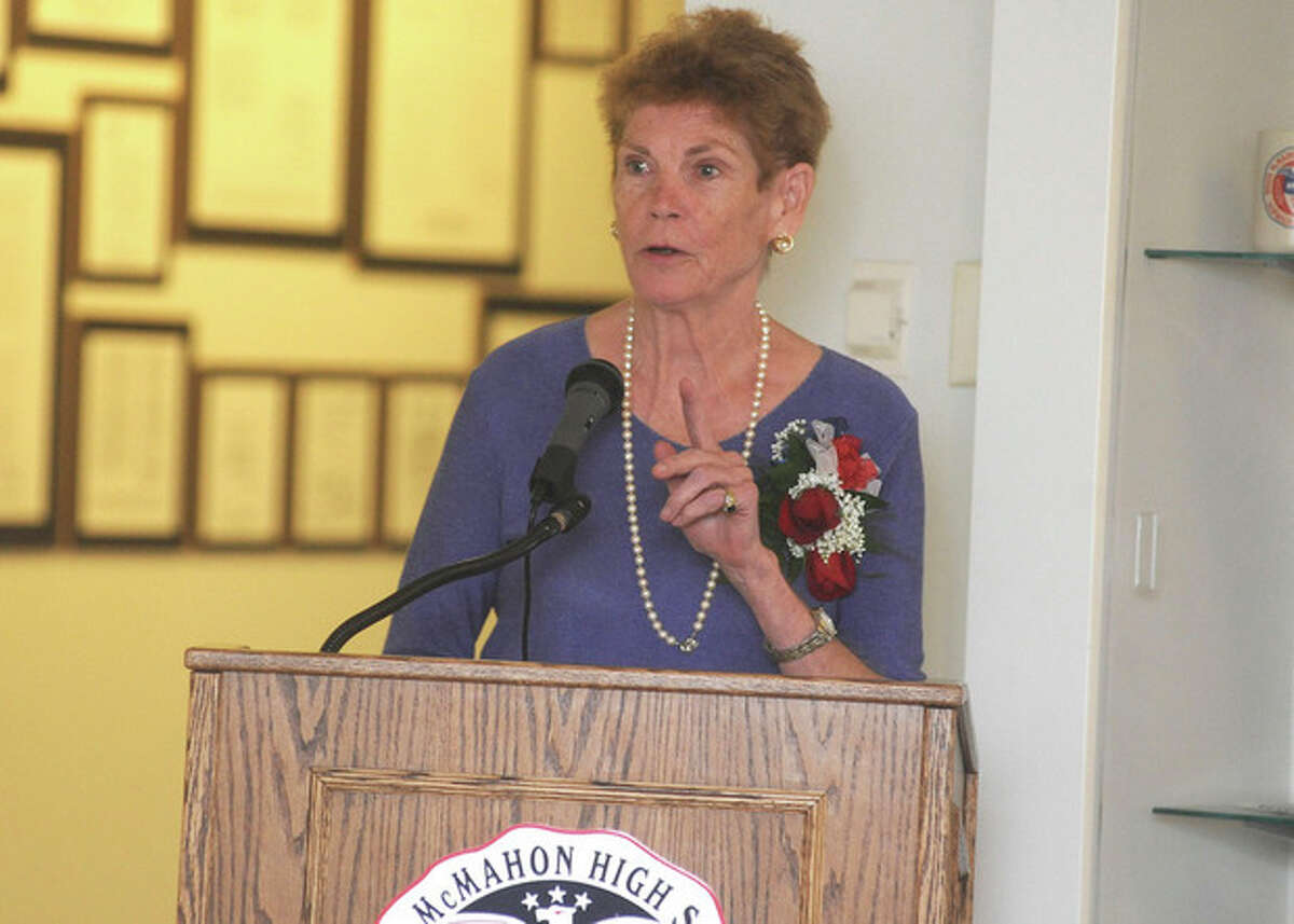 Hour photo / Matthew Vinci Patricia McMahon Fox, daughter of the late Sen. Brien McMahon, is the keynote speaker at the Brien McMahon High School Rededication Ceremony on Sunday.