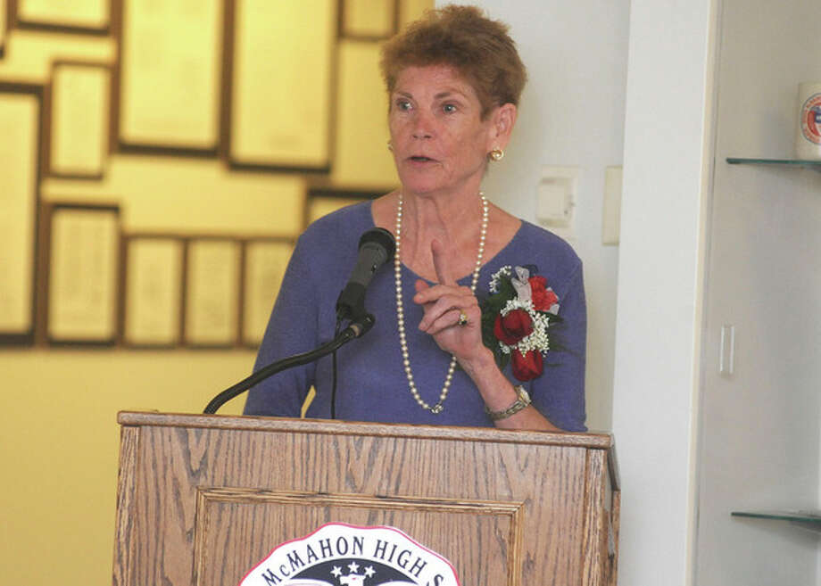 Hour photo / Matthew VinciPatricia McMahon Fox, daughter of the late Sen. Brien McMahon, is the keynote speaker at the Brien McMahon High School Rededication Ceremony on Sunday.