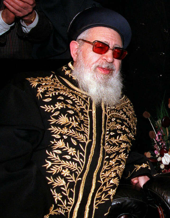 FILE - This April 20, 1997 file photo shows Shas party spiritual leader Rabbi Ovadia Yosef in Jerusalem. Rabbi Ovadia, the religious scholar and spiritual leader of Israel's Sephardic Jews who transformed his downtrodden community of immigrants from North Africa and Arab nations and their descendants into a powerful force in Israeli politics, has died. He was 93. (AP Photo/Eyal Warshavsky, File)