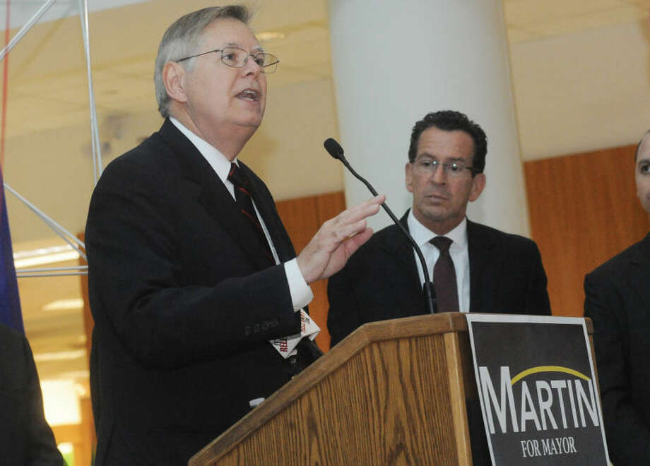 David Martin is endorsed for mayor of Stamford by Gov. Dannel P. Malloy on Monday at University of Connecticut's Stamford campus.