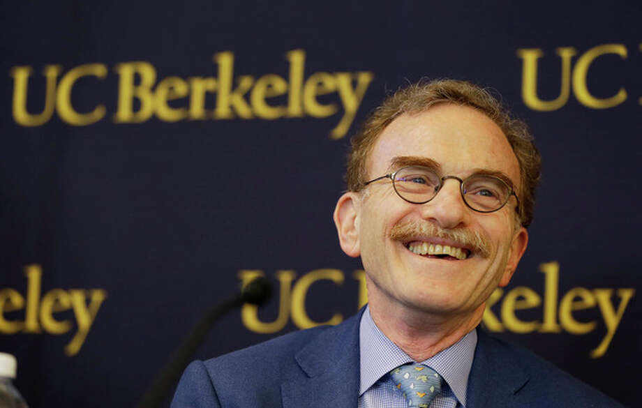 Randy Schekman, professor at the University of California, Berkeley, smiles while talking about winning the Nobel Prize in medicine during a news conference Monday, Oct. 7, 2013, in Berkeley, Calif. Two Americans and a German-American won the Nobel Prize in medicine Monday for discovering how key substances are transported within cells, a process involved in such important activities as brain cell communication and the release of insulin. James Rothman, 62, of Yale University, Randy Schekman, 64, of the University of California, Berkeley, and Dr. Thomas Sudhof, 57, of Stanford University shared the $1.2 million prize. (AP Photo/Eric Risberg) / AP