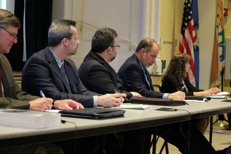 A panel of DOT representatives listens to residents' questions on the fate of the Saugatuck Swing Bridge at Town Hall on June 6,2016 in Westport, CT. Photo: Chris Marquette / Hearst Connecticut Media / Westport News