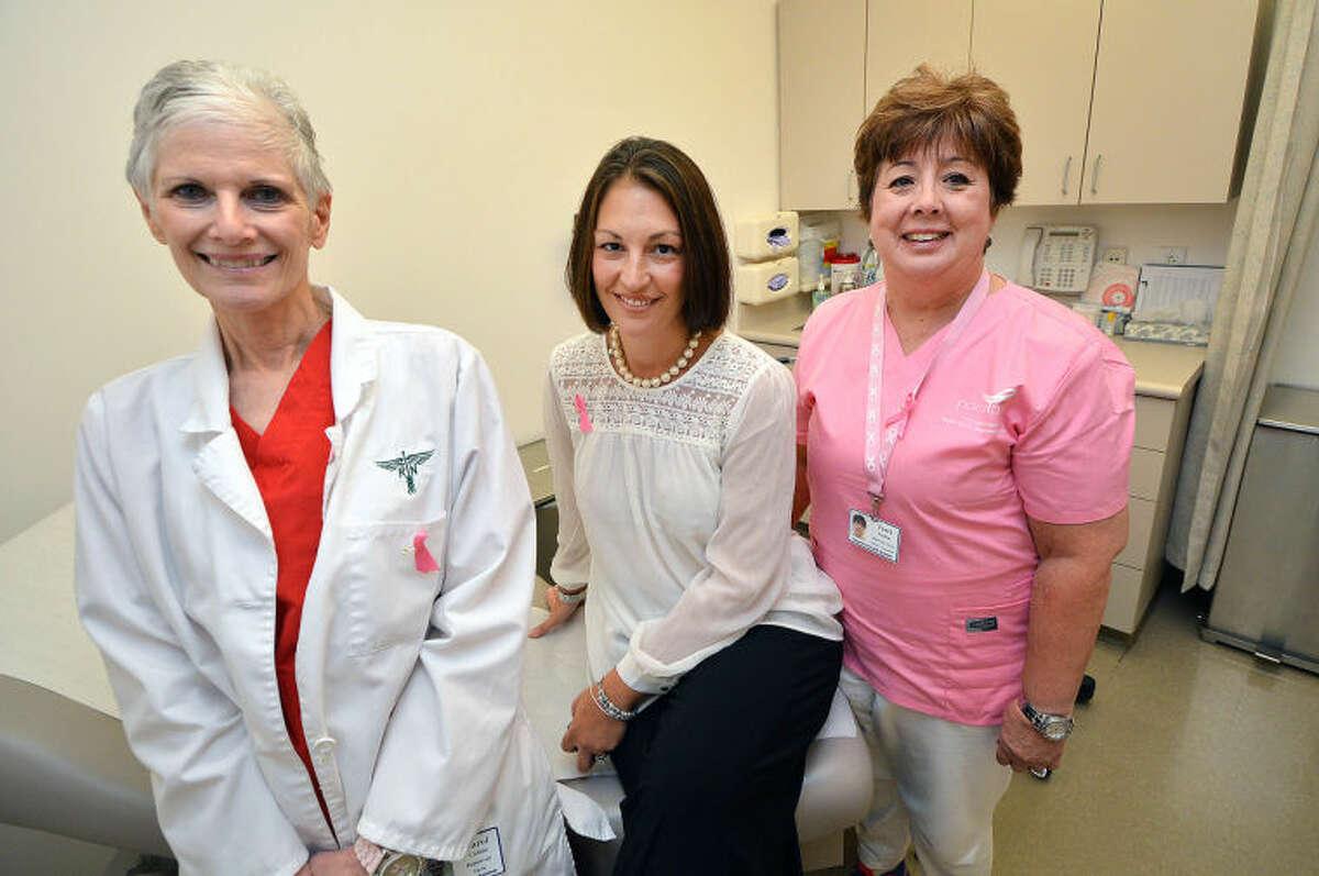 Stamford Hospital R.N Carol Hoffman, Dr. Elaine Morganelli and R.N. Terry Condon.