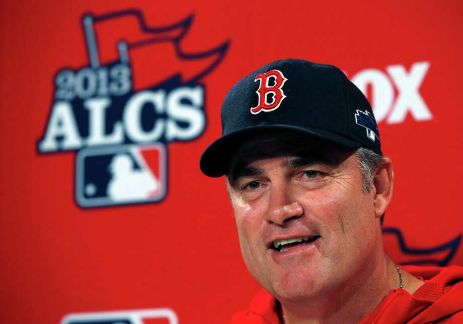 Boston Red Sox manager John Farrell speaks during a news conference prior to a team workout at Fenway Park in Boston, Thursday, Oct. 10, 2013, in preparation for Game 1 of baseball's AL championship series on Saturday. (AP Photo/Elise Amendola) / AP