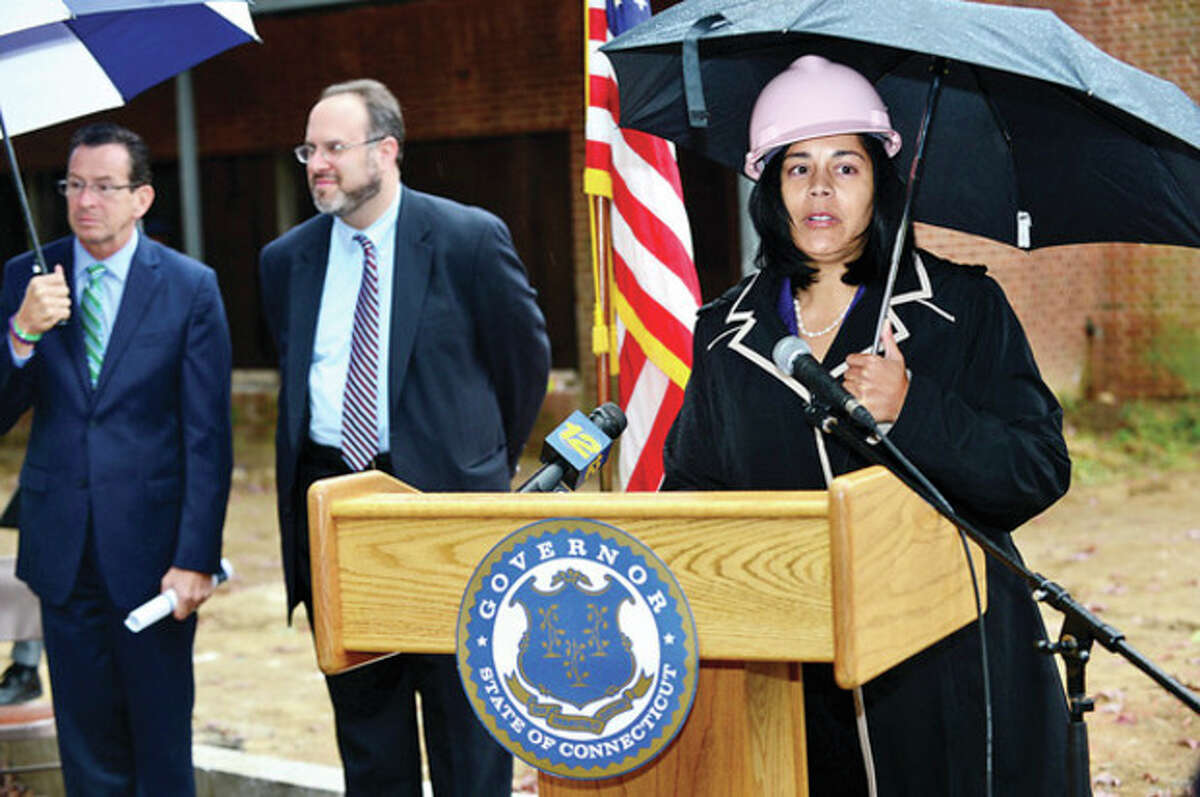 Hour photo / Erik Trautmann Dr. Nivea Torres, Stamford Interim Superintendent of Schools, speaks at the ground breaking ceremony at Wright Technical School in Satmford Thursday.