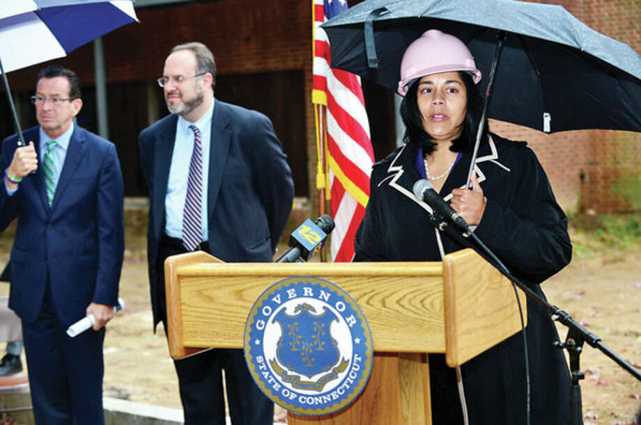 Hour photo / Erik Trautmann Dr. Nivea Torres, Stamford Interim Superintendent of Schools, speaks at the ground breaking ceremony at Wright Technical School in Satmford Thursday. / (C)2013, The Hour Newspapers, all rights reserved