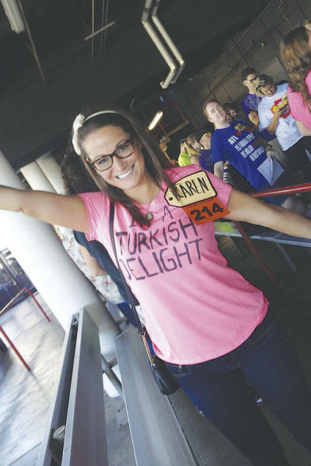 Contributed photoNorwalk native Karen Shiers waiting on line to be interviewed for the Price is Right.