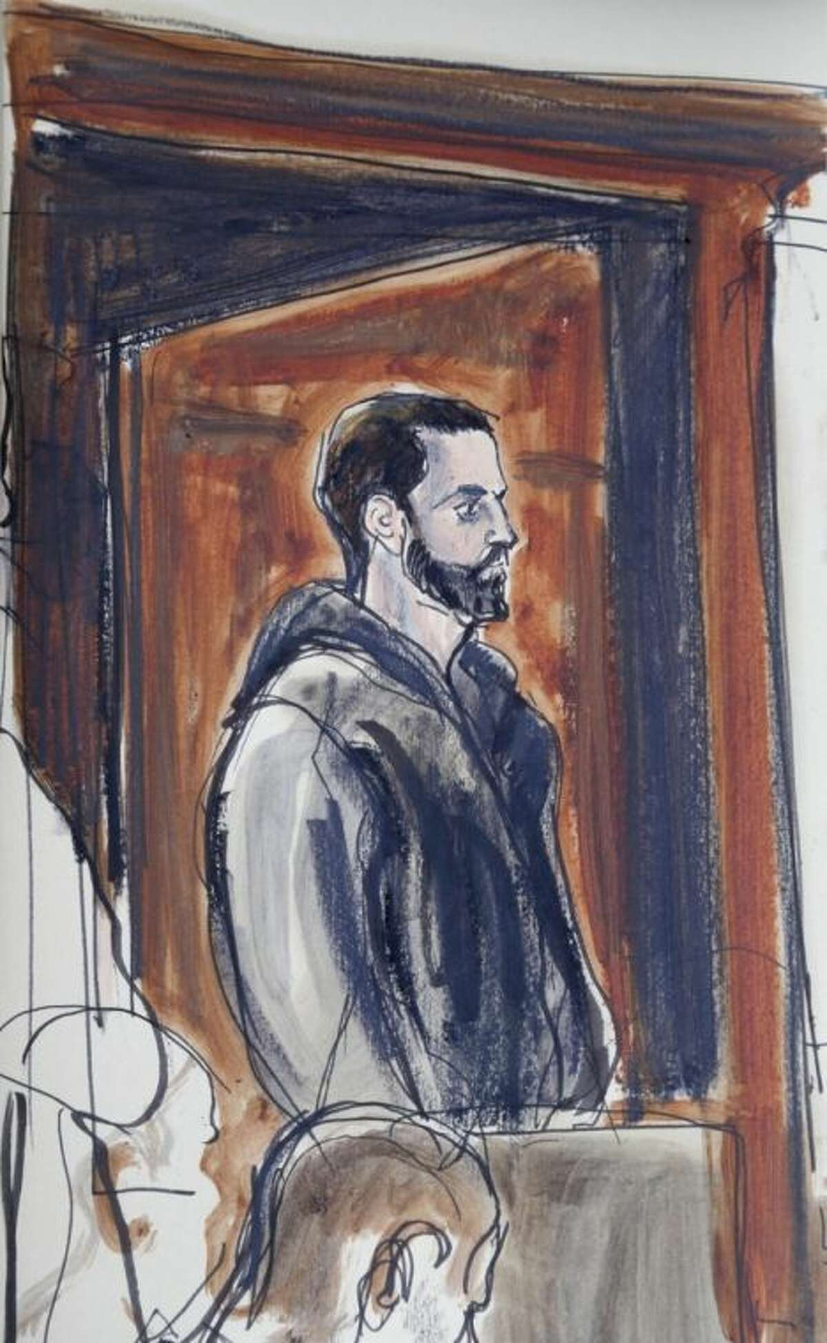 In a court sketch Wojciech Braszczok is seen in criminal court in New York, Wednesday, Oct. 9, 2013. Braszczok, an undercover police detective, was arrested as fallout from a burst of motorcyclist mayhem reached a new level, with investigators saying the officer was shown on video hitting and kicking an SUV before bikers attacked its driver. (AP Photo/Elizabeth Wiliams)