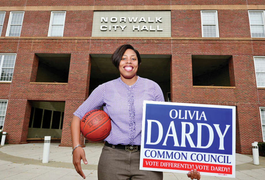 Hour photo/Erik TrautmannFormer Brien McMahon basketball standout Olivia Dardy is now taking aim at her next goal, running for Councilman at Large in Norwalk. / (C)2013, The Hour Newspapers, all rights reserved